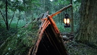 Bushcraft Overnighter - Survival Shelter build - No Talk - ASMR