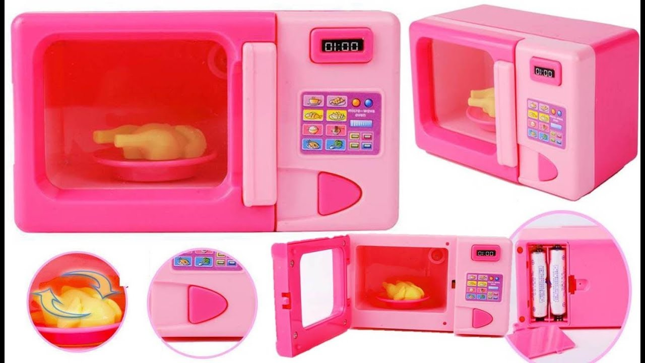 Ideal kitchen appliances microwave pink oven toy for kids for Electronic kitchen set