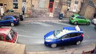Road rage street fight after car crash