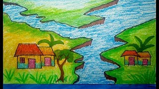 How to drawing & coloring Scenery | Scenery of river | drawing for chldren