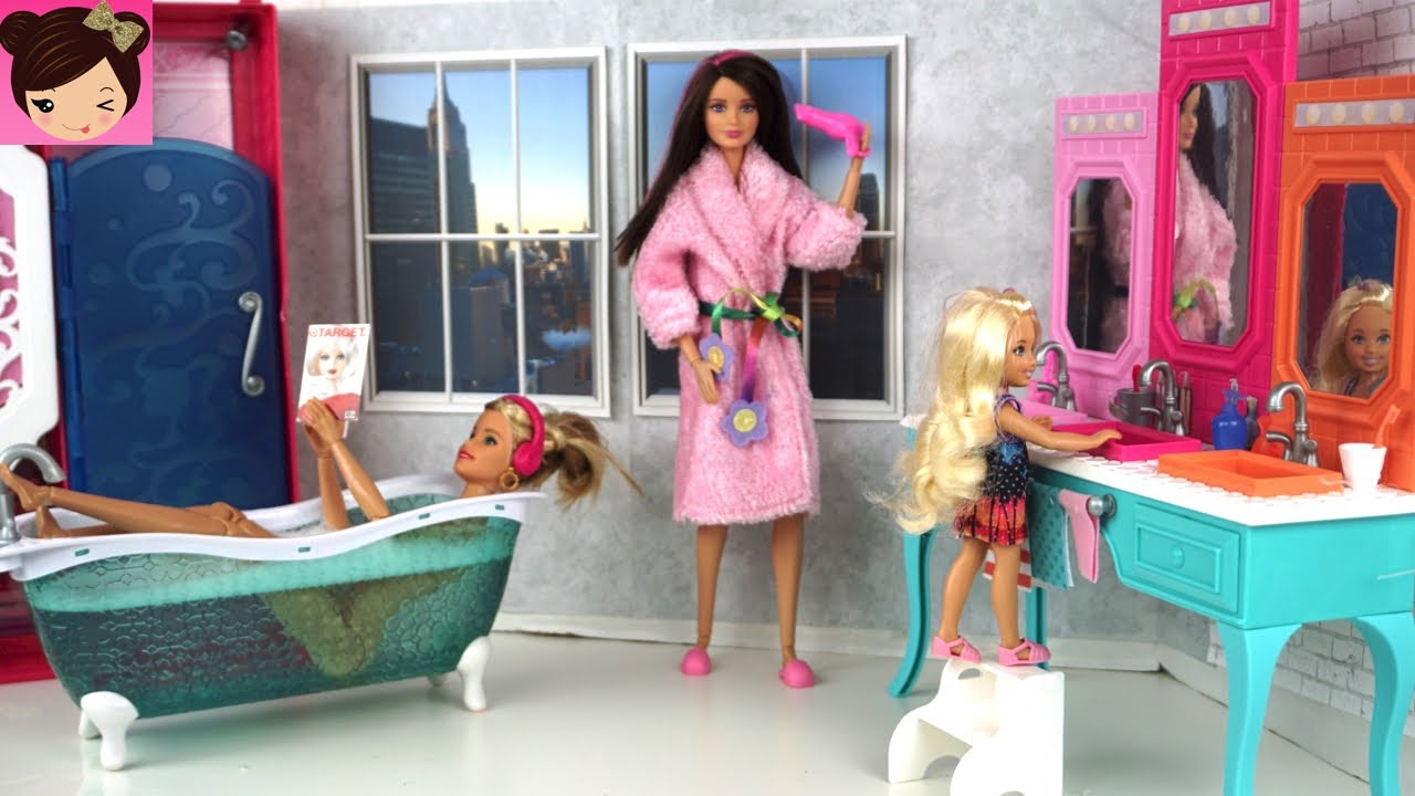 Barbie Kitchen Playset Pantrys Bathroom Evening Routine - Playing With Doll House ...