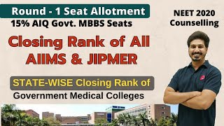 Closing Rank of All AIIMS, JIPMER & Statewise Medical Colleges | #NEET2020 AIQ 15% Quota Counselling