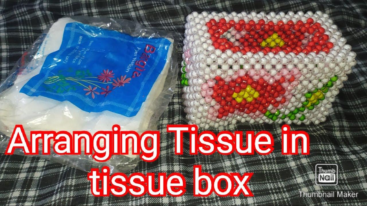 টিস্যু পেপার ফোল্ড করার নিয়ম#How to fold Npkin tissue into a Beaded Tissue Box#Tissue folding#Mele