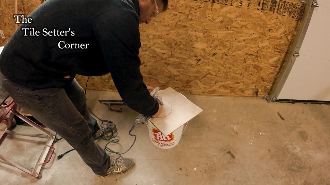 Cutting Tile Around Toilet Bowl Flange Youtube