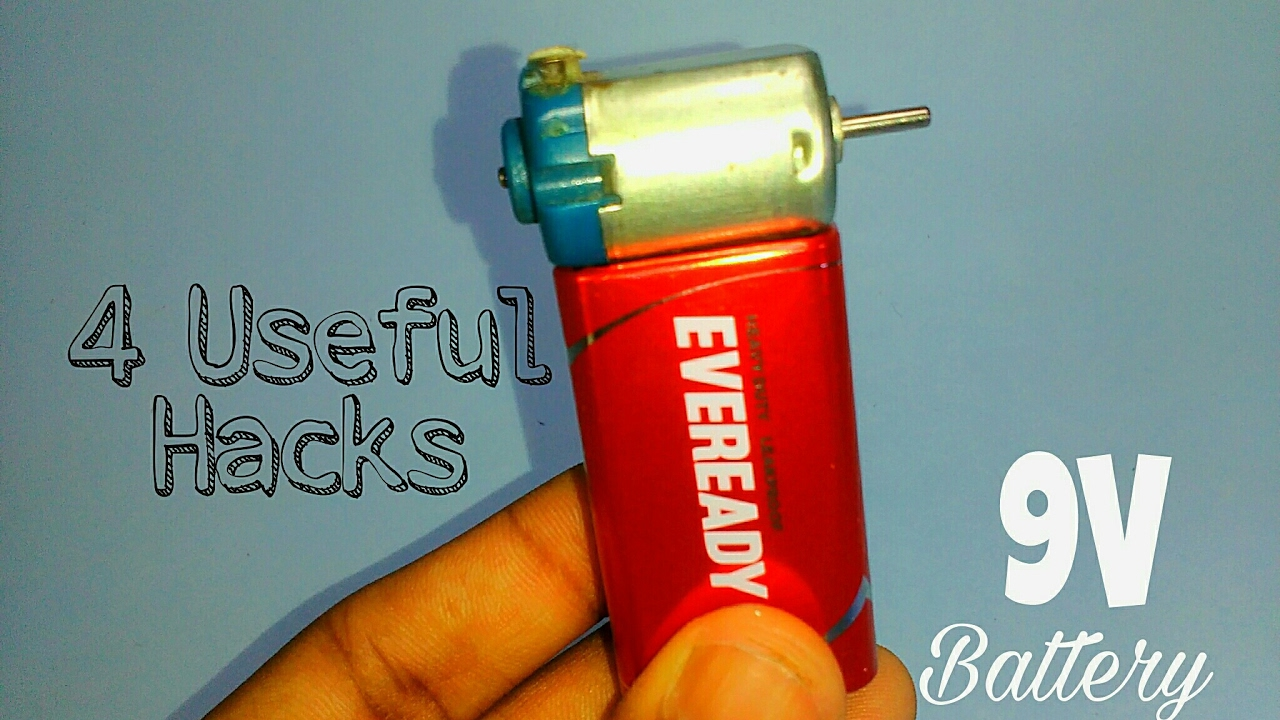 4 Useful things form 9V battery | DC motor | Life hacks - YouTube