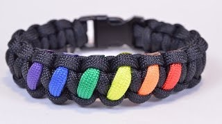 Make a Rainbow Colored Paracord Survival Bracelet with Buckle - BoredParacord