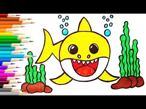 Как нарисовать АКУЛЕНКА / Мультик раскраска Baby Shark ...