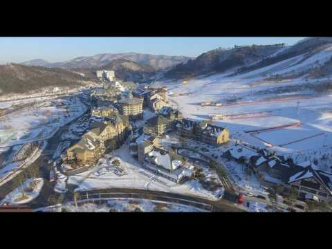 Skiing in Korea- Alpensia Resort's Aerial view