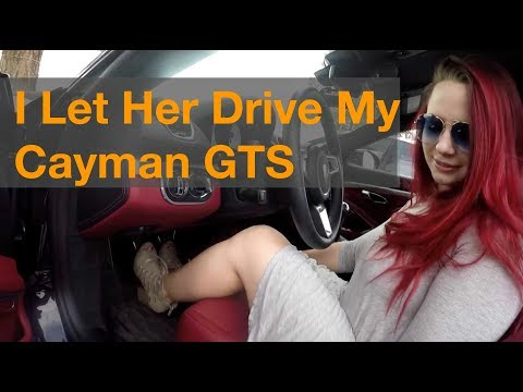 Rachel Driving my 982 Cayman
