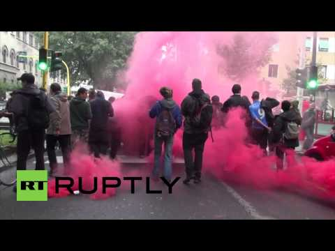 Italy: Watch anti-Merkel protesters clash with police