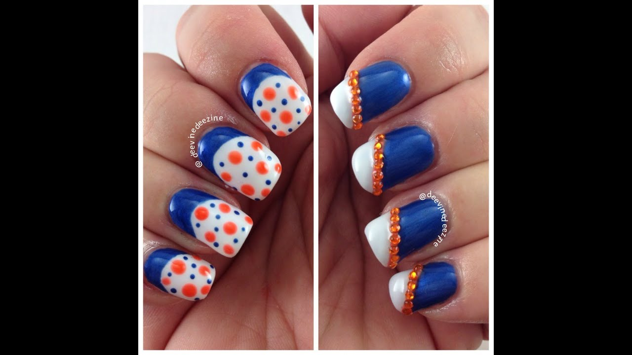 FLORIDA GATOR NAIL ART FOR BEGINNERS - YouTube