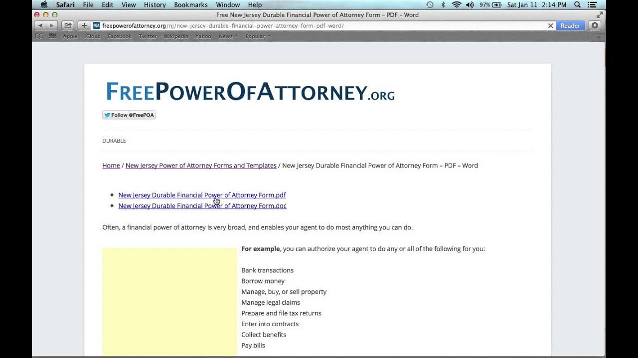 How To Fill In A New Jersey Of Attorney Form