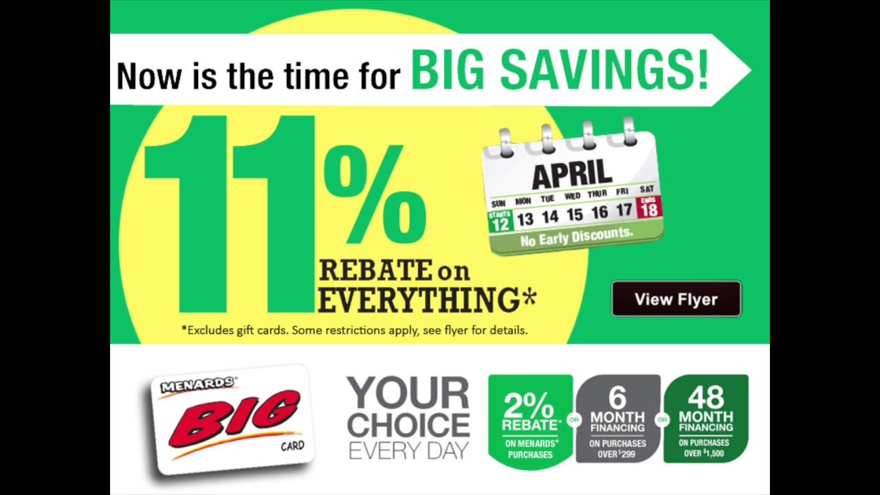 Menards 11% Rebate - YouTube