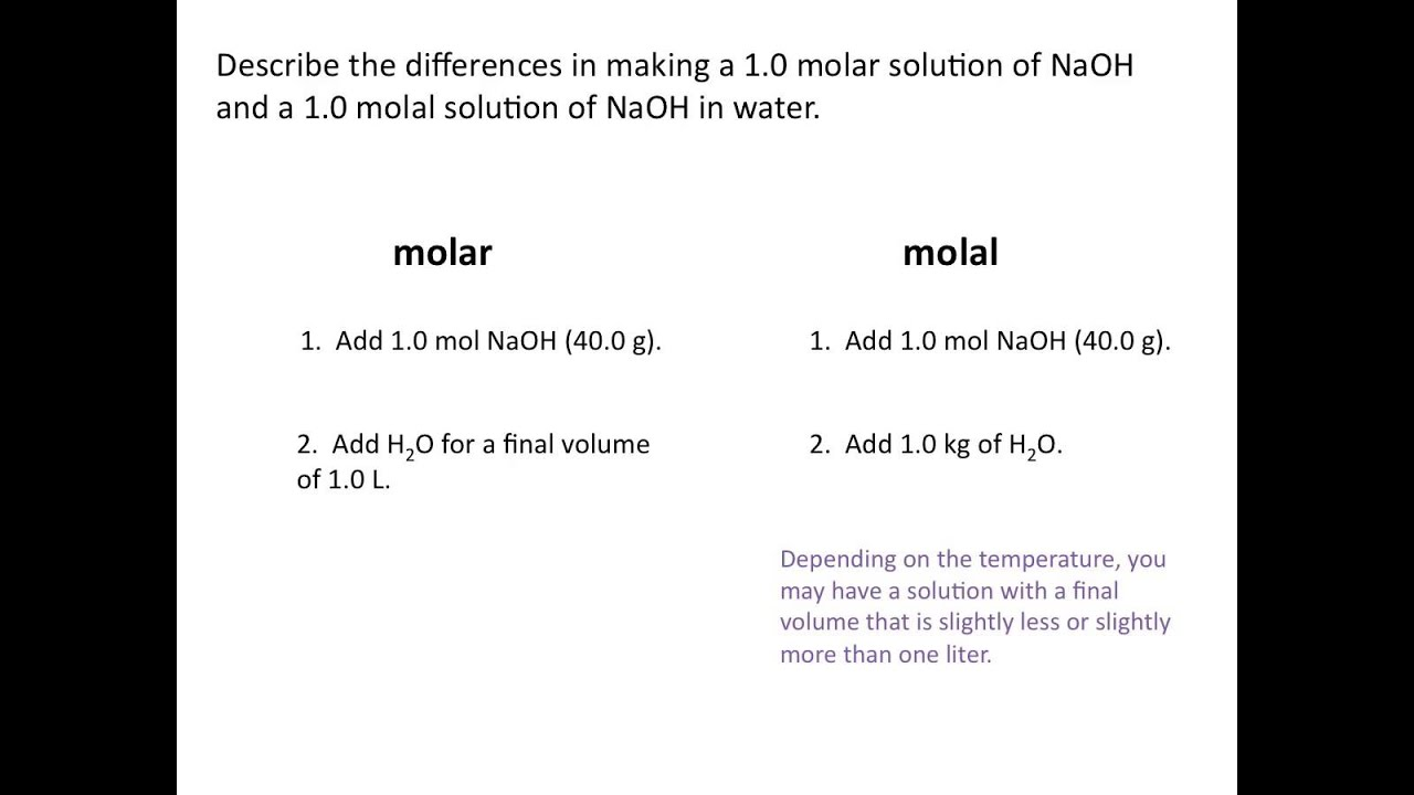 Molality Chemistry Tutorial YouTube – Titration Practice Worksheet