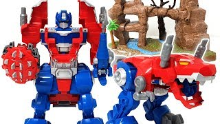 Transformer Bumblebee and Optimus Prime Transformation with dinosaur ❤️ RACHAMAN TOY
