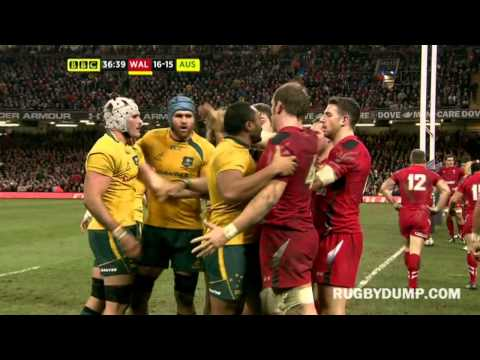 George North and Richard Hibbard HUGE hits vs the Wallabies in lead up to Folau try