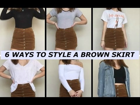 6 Ways To Style A Brown Skirt!!♡