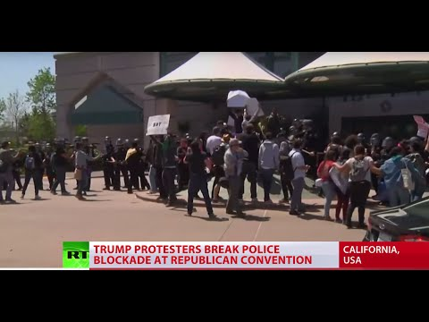 'Polarizing & extreme populist': Trump protesters rush California GOP convention