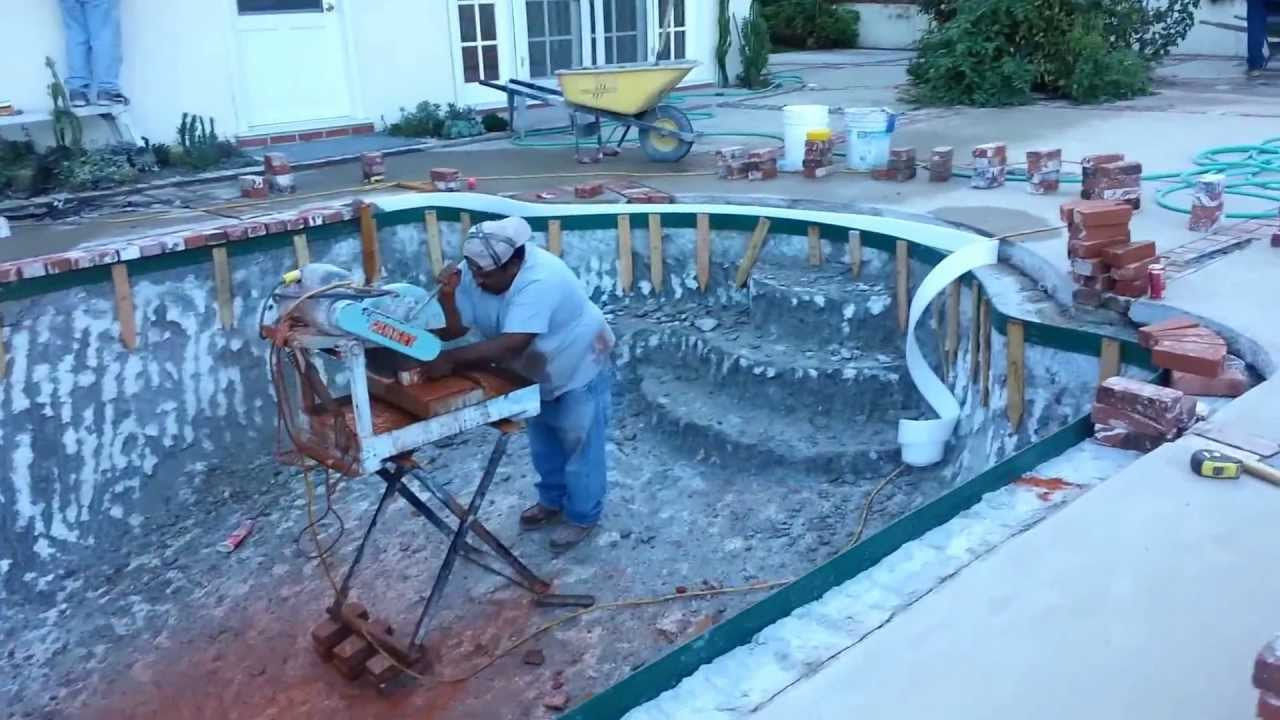Coping Installation Around Swimming Pool In Los Angeles