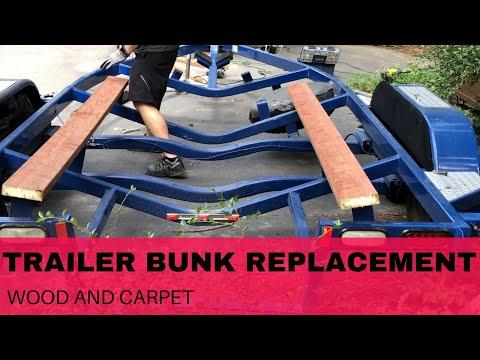 Boat Trailer Bunk replacement - DIY (wood and carpet) in 4K
