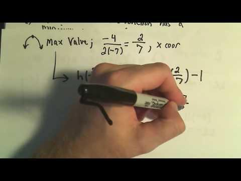 Maximum and Minimum Values of Quadratic Functions