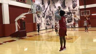 Collin Sexton dunking, shooting 3s at Alabama basketball practice