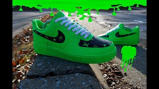 "Custom "" LV Slime Green "" Custom Shoes 