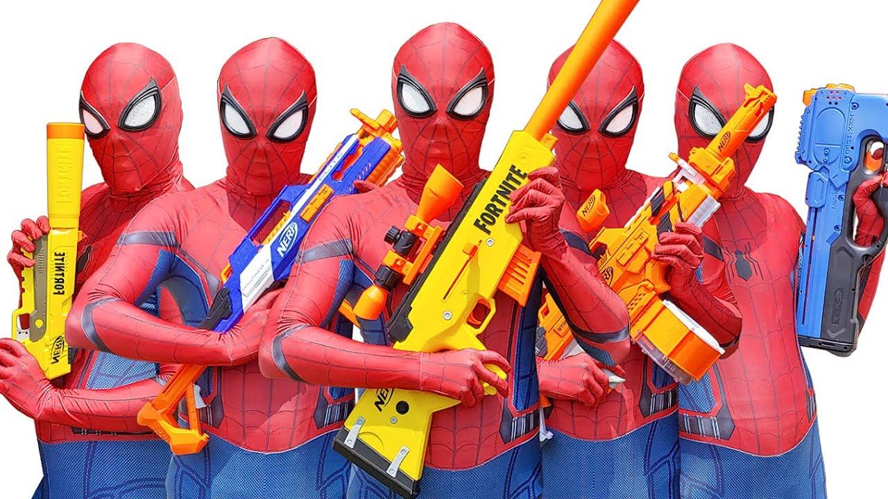 Spider Man Nerf War Compilation