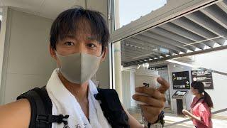 熊本空港で飛行機待ってます