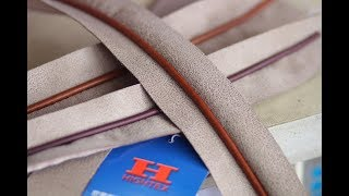 How to sew piping cord into welt seam of leather bags