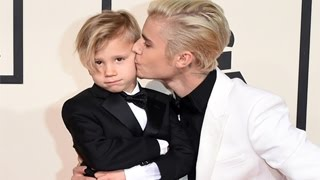 Grammy Awards 2016 - Justin Bieber & Little Brother Jaxon Bieber Rocked Red Carpet At Grammys 2016