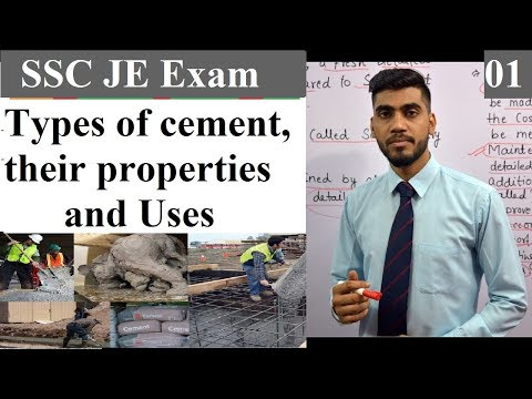 SSC JE Preparation ||Types of cement, their properties and Uses || Construction Materials