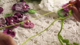 Как связать украшение для вязанного детского платья (decorations for baby dresses) . (узор#38)