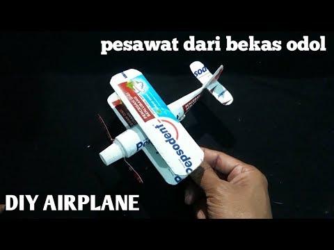 Cara membuat miniatur pesawat capung | airplane from toothpaste | Ide kreatif