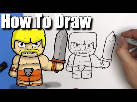 How To Draw a Barbarian from Clash of Clans - EASY Chibi - Step By Step - Kawaii