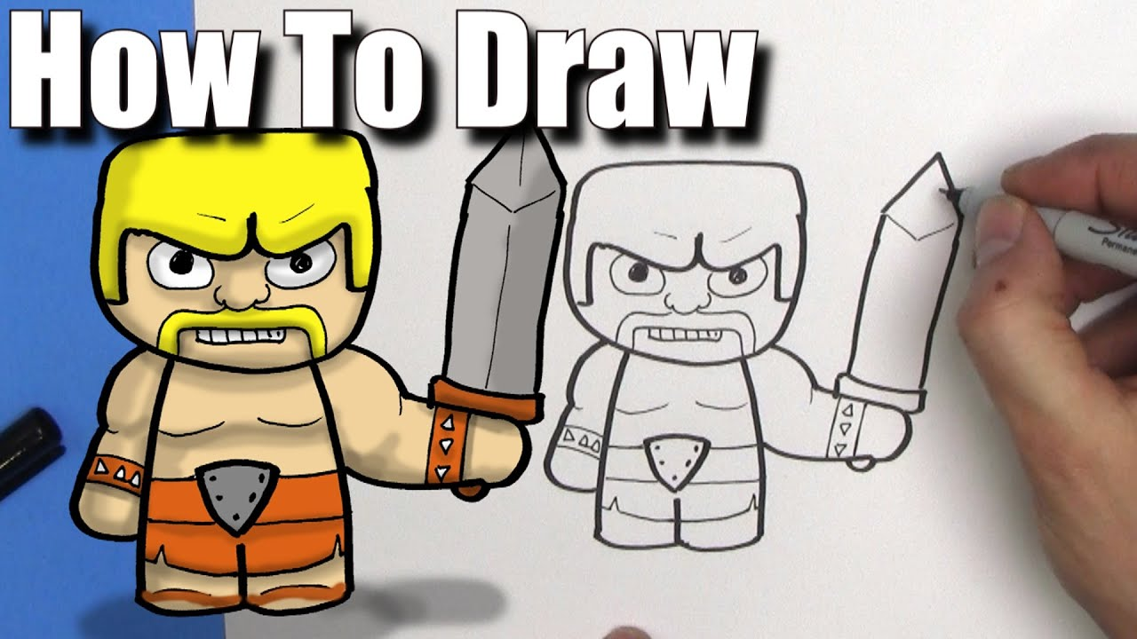 How To Draw A Barbarian From Clash Of Clans  Easy Chibi  Step By Step   Kawaii  Youtube