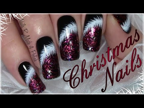 classic red christmas nails with feather xmas nail art. Black Bedroom Furniture Sets. Home Design Ideas