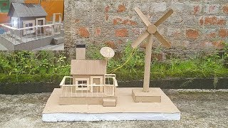 || How To Make Working Model Of A Wind Turbine From Cardboard - School Project ||