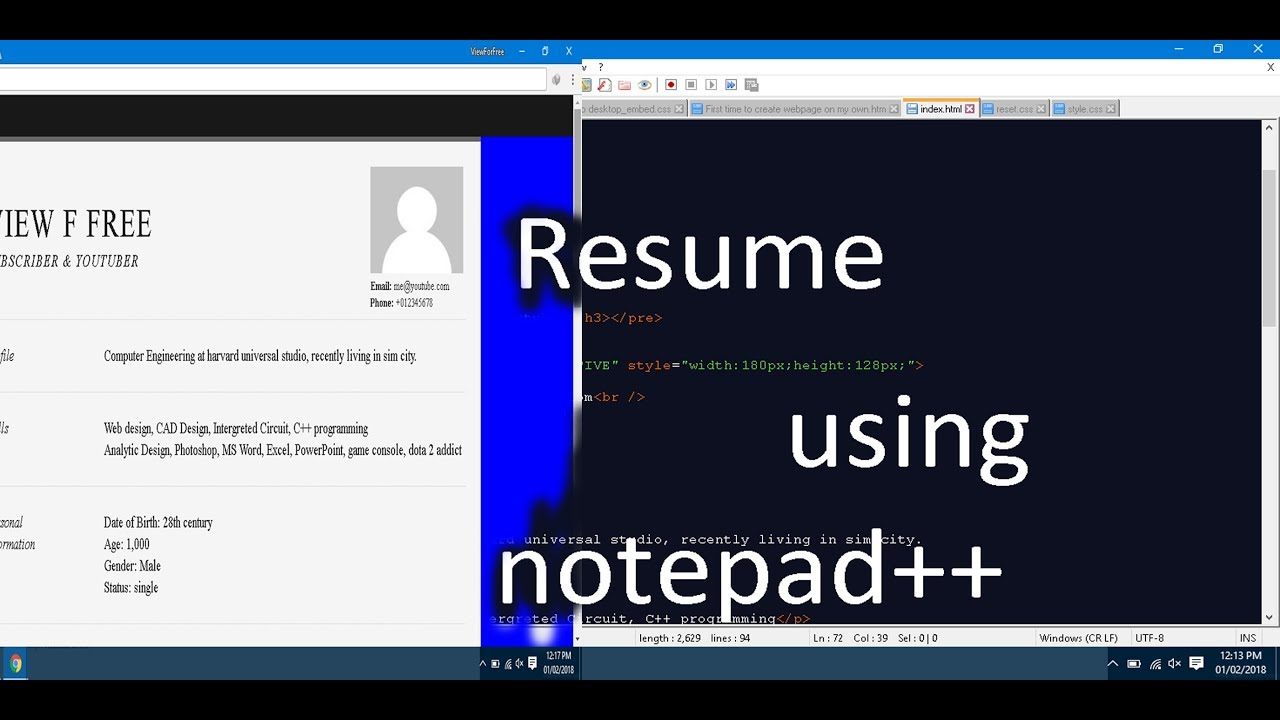 Resume webpage using HTML - YouTube