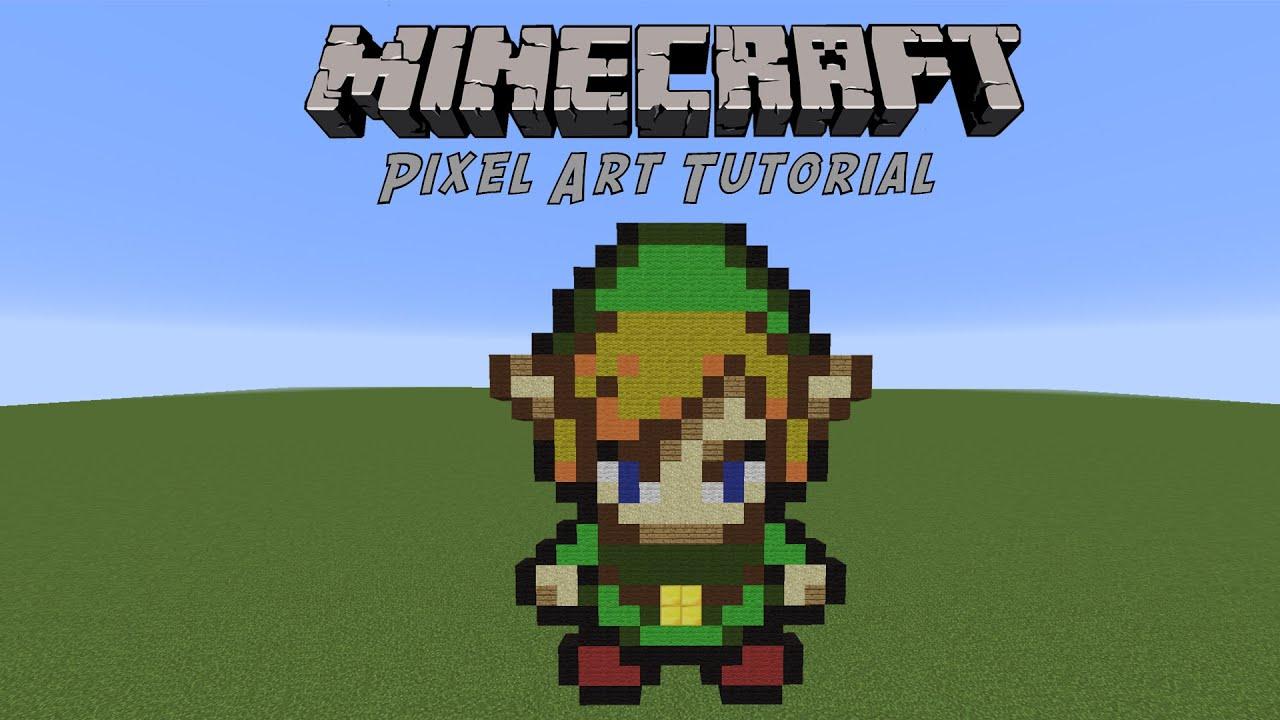minecraft pixel art tutorial link legend of zelda youtube