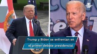 Donald Trump y Joe Biden se enfrentan este martes en el primer debate de una campaña que transcurre bajo alta tensión; abordarán la crisis del Covid-19 y el racismo en EU