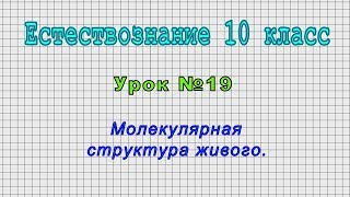 Естествознание 10 класс (Урок№19 - Молекулярная структура живого.)