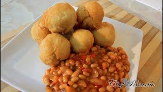 Mini Fried Dumpling With Baked Beans For Breakfast
