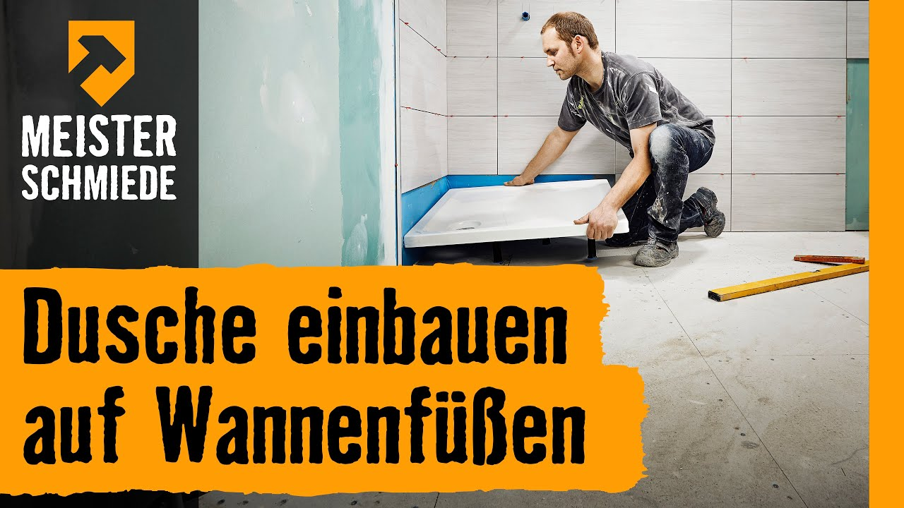 dusche einbauen auf wannenf en hornbach meisterschmiede youtube. Black Bedroom Furniture Sets. Home Design Ideas