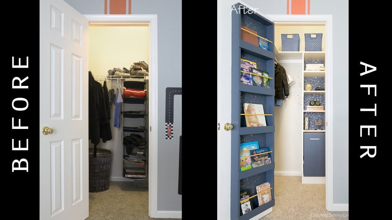 Kids Closet Makeover With Bookshelf On Door