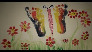 How to draw butterfly for kids with foot , Flowers and Butterfly drawing