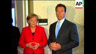 Merkel meets California Governor Schwarzenegger