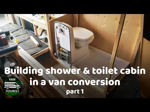 Shower and Toilet cabin building in van conversion. Wood frame. Bathroom for diy campervan or RV.