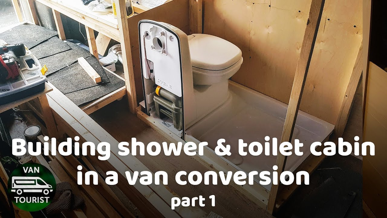 Shower and Toilet cabin building in van conversion  Wood frame  Bathroom  for diy campervan or RV