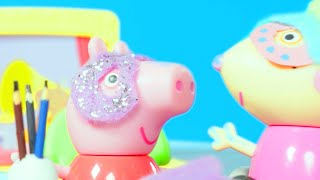 Peppa Pig Making Masks with Friends | Peppa Pig Stop Motion | Peppa Pig Toy Play